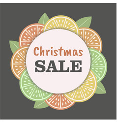 christmas sale template with vintage citrus slice vector image