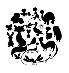 Circle of cute animals silhouettes mammals vector