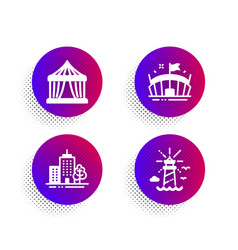Circus tent arena and skyscraper buildings icons vector