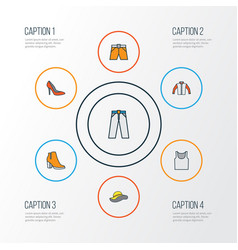Clothes colorful outline icons set collection of vector