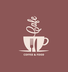 coffee cup with fork and knife food and coffee vector image