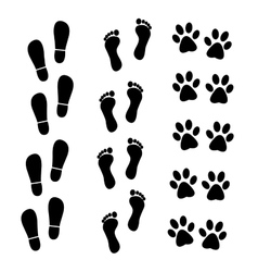 collection of human and animal trace vector image