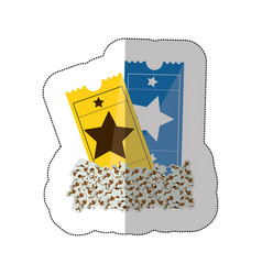 color background sticker with popcorn and movie vector image