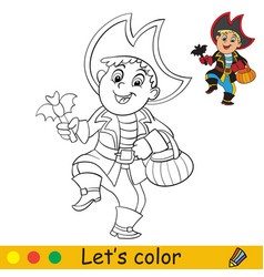 coloring with template halloween in pirate vector image