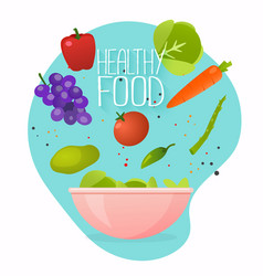 concept healthy lifestyle cooking salad vector image