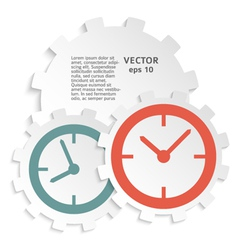 Concept of time clock icon on paper cutaway gear vector
