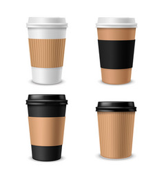 cups coffee paper realistic takeaway cup with vector image