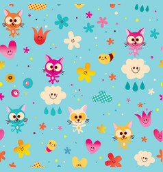Cute kittens clouds hearts and flowers vector