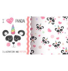 cute panda unicorn - seamless pattern vector image