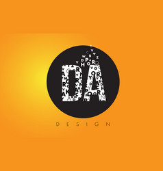 Da d a logo made of small letters with black vector