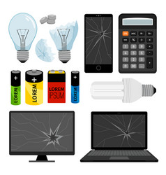 E-waste icons collection vector