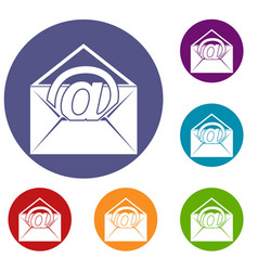Envelope with email sign icons set vector