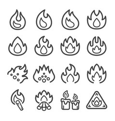 fire line icon set vector image