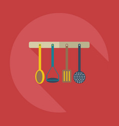 Flat modern design with shadow icons kitchen items vector