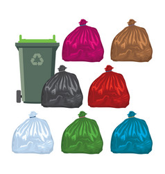 flat recycling wheelie bin with garbage bags vector image