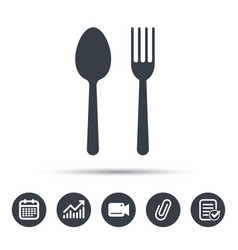 Food icons fork and spoon sign vector