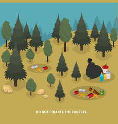 forest pollution isometric composition vector image