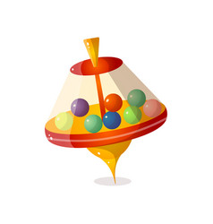 Futuristic whirligig with colorful balls in vector