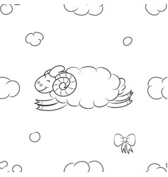 Fuzzy sheep flying in the sky vector