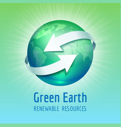 green planet earth with white arrows vector image