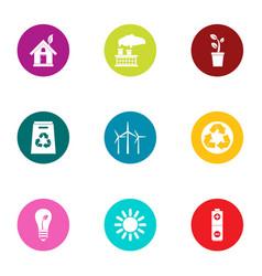 green shelter icons set flat style vector image