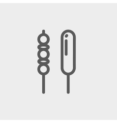Grilled pork and hotdog thin line icon vector