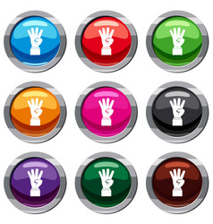 hand showing number four set 9 collection vector image