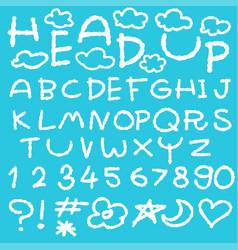 Happy cloud fun doodle alphabet set vector