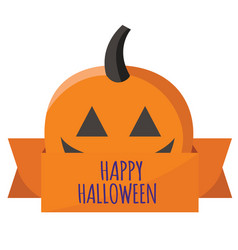 happy halloween ribbon pumpkin background i vector image