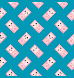 Happy little ipod seamless pattern on blue vector
