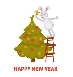 Happy new year 2019 bunny decorating evergreen vector