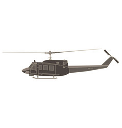 helicopter flat icon isolated aircraft side view vector image