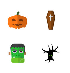 icon flat halloween set of tree monster zombie vector image