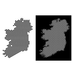 Ireland island map honeycomb abstraction vector