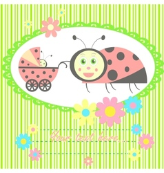Ladybird mom and baby card vector