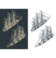 Large sailing ship isometric drawings with the vector
