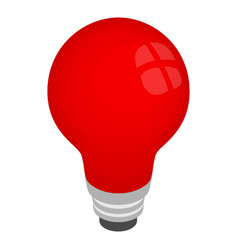Light red bulb icon isometric 3d style vector image