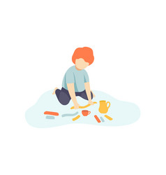 Little boy sitting on floor and making figures vector