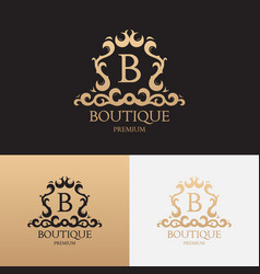 Logo template of luxury boutique brand vector