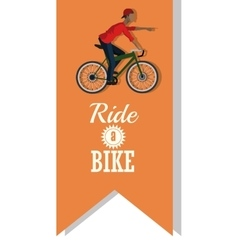Man riding bike inside ribbon design vector