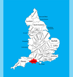 Map dorset in south west england united kingdom vector
