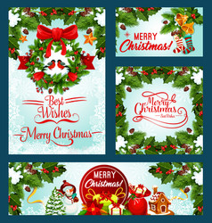 Merry christmas holiday greeting cards vector