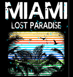 Miami beach typography tee graphic design vector
