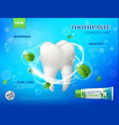 Mint toothpaste teeth whitening gum care clean vector