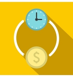 Money and time icon flat style vector