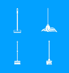 mop cleaning swab icons set simple style vector image
