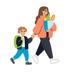 Mother and child go woman holding package with vector