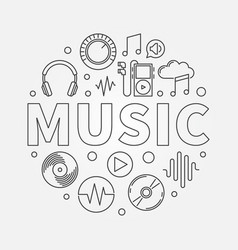 music round in thin line style vector image