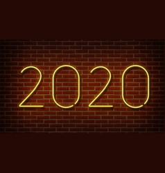 neon 2020 new year signs isolated on brick vector image