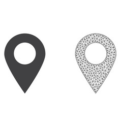 Network mesh map marker and flat icon vector